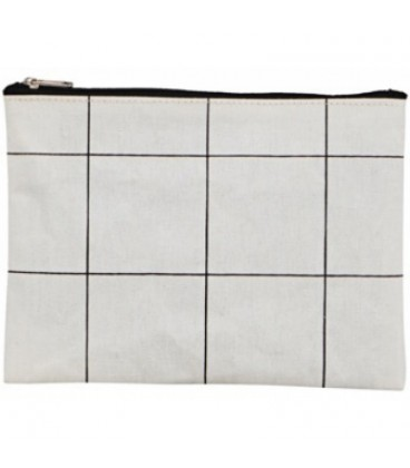 House Doctor Makeup Bag Squares White (21x14)
